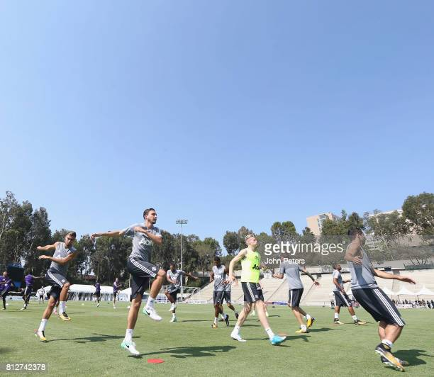 Andreas Pereira Matteo Darmian Scott McTominay and Henrikh Mkhitaryan of Manchester United in action during a first team training session as part of...