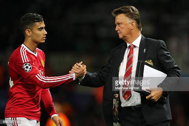 Andreas Pereira of Manchester United and Louis van Gaal the head coach / manager of Manchester United during the UEFA Champions League match between...