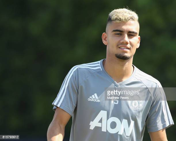 Andreas Pereira of Manchester United in action during a first team training session as part of their preseason tour of the USA at UCLA on July 16...