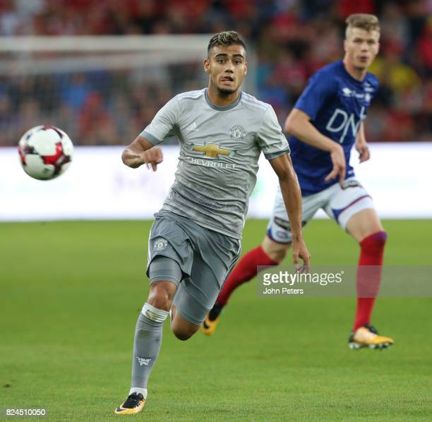 Andreas Pereira of Manchester United in action during the preseason friendly match between Valerenga and Manchester United at Ullevaal Stadion on...
