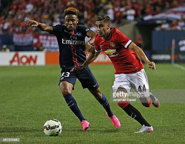 Andreas Pereira of Manchester United moves against Christopher Nkunku of Paris SaintGermain during a match in the 2015 International Champions Cup at...