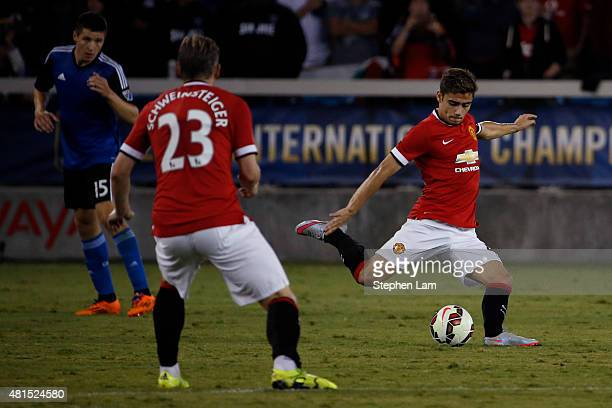 Andreas Pereira of Manchester United passes the ball during the second half of his International Champions Cup match against San Jose Earthquakes on...