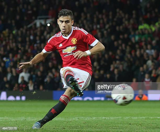 Andreas Pereira of Manchester United scores his penalty during the penalty shoot out during the Capital One Cup Fourth Round match between Manchester...