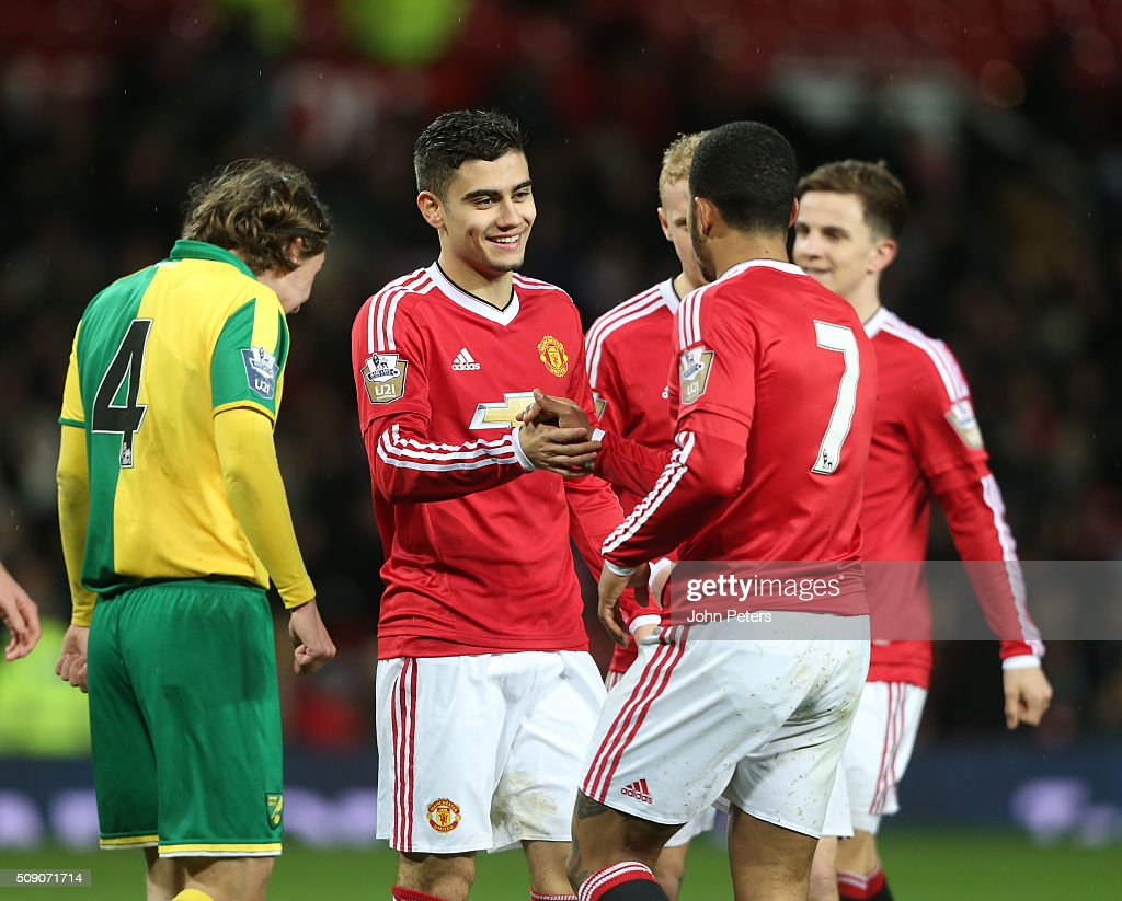 <a gi-track='captionPersonalityLinkClicked' href=/galleries/search?phrase=Andreas+Pereira&family=editorial&specificpeople=10940474 ng-click='$event.stopPropagation()'>Andreas Pereira</a> of Manchester United U21s celebrates scoring their fourth goal during the U21 Premier League match between Manchester United U21s and Norwich City U21s at Old Trafford on February 8, 2016 in Manchester, England.