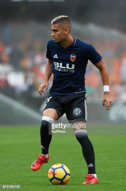 Andreas Pereira of Valencia CF warms up prior to the La Liga match between Valencia CF and Club Deportivo Leganes at Estadio Mestalla on november 4...