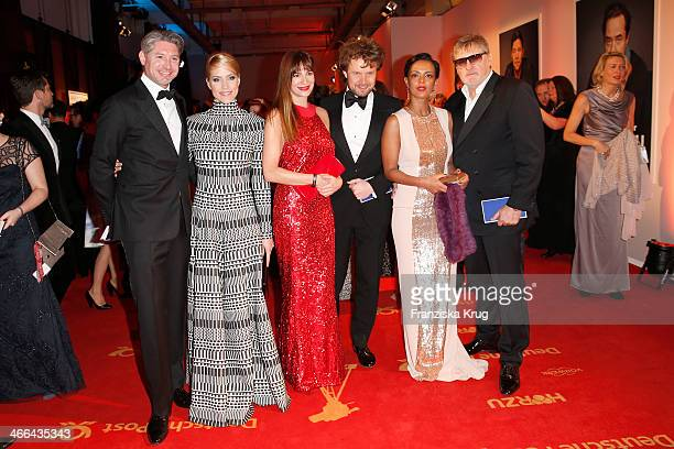 Andreas Pfaff Judith Rakers Alexandra Kamp Michael von Hassel Dennenesch Zoudé and Carlo Rola attend the Goldene Kamera 2014 at Tempelhof Airport on...