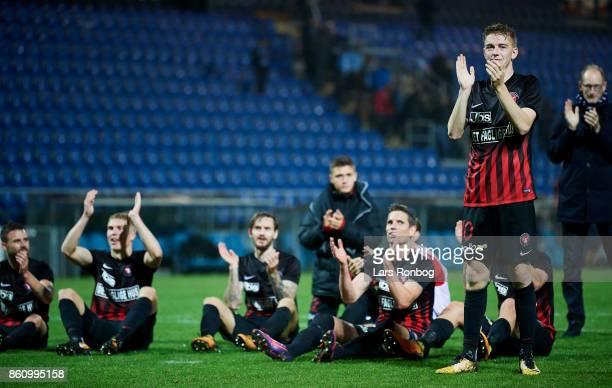 Andreas Poulsen of FC Midtjylland celebrates after the Danish Alka Superliga match between Sonderjyske and FC Midtjylland at Sydbank Park on October...