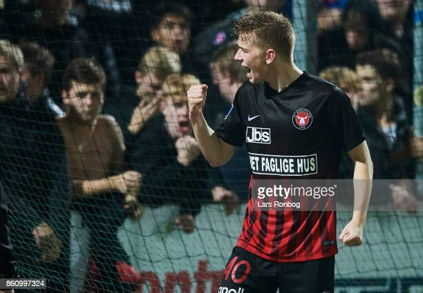 Andreas Poulsen of FC Midtjylland celebrates with the fans after the Danish Alka Superliga match between Sonderjyske and FC Midtjylland at Sydbank...