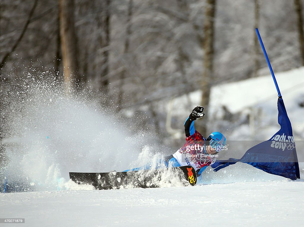 <a gi-track='captionPersonalityLinkClicked' href=/galleries/search?phrase=Andreas+Prommegger&family=editorial&specificpeople=869827 ng-click='$event.stopPropagation()'>Andreas Prommegger</a> of Austraia competes during the Freestyle Skiing Men's Parallel Slalom on day 12 of the Sochi 2014 Winter Olympics at Rosa Khutor Extreme Park on February 19, 2014 in Sochi, Russia.