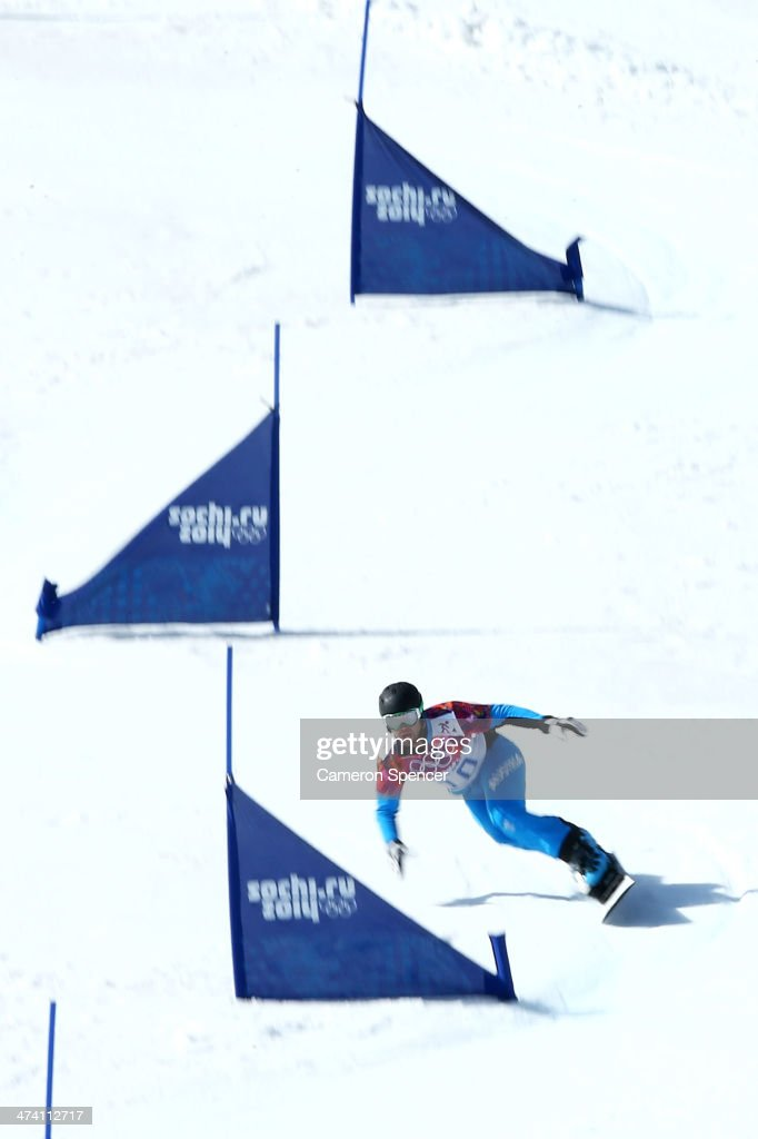 <a gi-track='captionPersonalityLinkClicked' href=/galleries/search?phrase=Andreas+Prommegger&family=editorial&specificpeople=869827 ng-click='$event.stopPropagation()'>Andreas Prommegger</a> of Austria competes in the Snowboard Men's Parallel Slalom 1/8 Finals on day 15 of the 2014 Winter Olympics at Rosa Khutor Extreme Park on February 22, 2014 in Sochi, Russia.