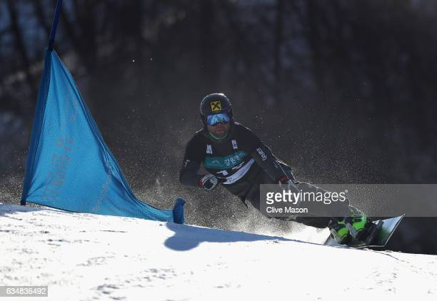 Andreas Prommegger of Austria in action and on his way to winning the FIS Freestyle World Cup Mens Parallel Giant Slalom at Bokwang Snow Park on...