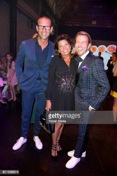Andreas Rebbelmund Babette Albrecht and Sandro Rath attend the Thomas Rath show during Platform Fashion July 2017 at Areal Boehler on July 23 2017 in...