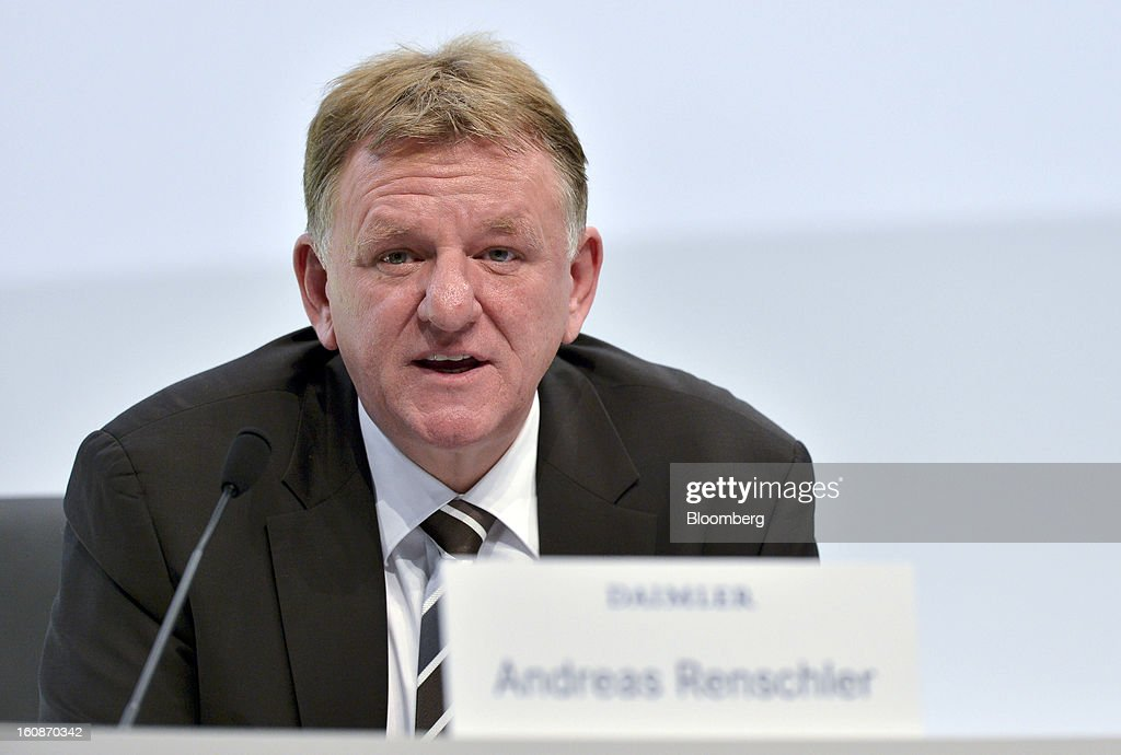 Andreas Renschler, head of Daimler AG's truck division, speaks during a news conference to announce the company's results in Stuttgart, Germany, on Thursday, Feb. 7, 2013. Daimler AG, the world's third-largest maker of luxury vehicles, forecast unchanged 2013 profit as spending for new models and a revamp of the automaker's operations eat into earnings. Photographer: Guenter Schiffmann/Bloomberg via Getty Images