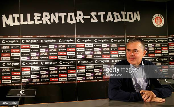 Andreas Rettig new commercial manager talks to the media during a press conference at Millerntor Stadium on August 18 2015 in Hamburg Germany