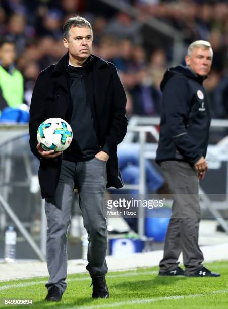 Andreas Rettig sport director of St Pauli looks during the Second Bundesliga match between Holstein Kiel and FC St Pauli at HolsteinStadion on...