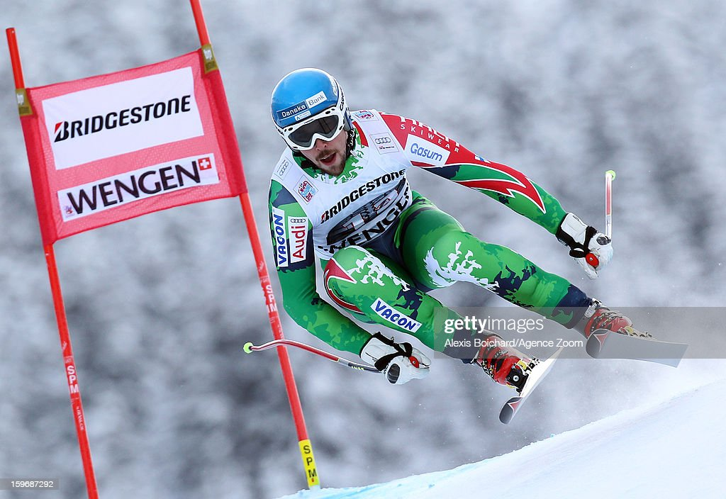 Andreas Romar of Finland competes during the Audi FIS Alpine Ski World Cup Men's Super Combined on January 18, 2013 in Wengen, Switzerland.