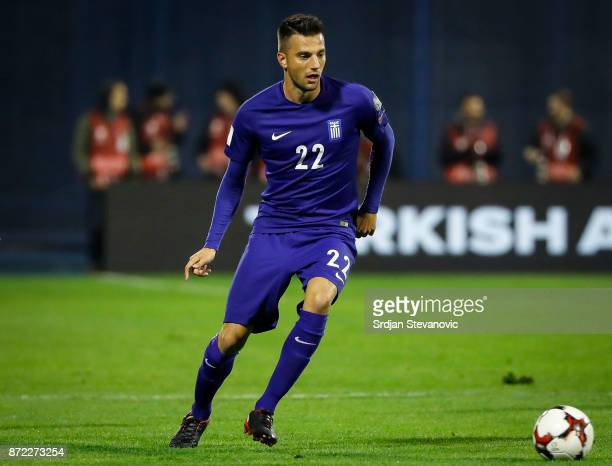 Andreas Samaris of Greece in action during the FIFA 2018 World Cup Qualifier PlayOff First Leg between Croatia and Greece at Stadion Maksimir on...