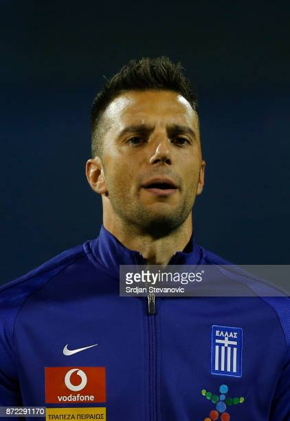 Andreas Samaris of Greece looks on prior the FIFA 2018 World Cup Qualifier PlayOff First Leg between Croatia and Greece at Stadion Maksimir on...