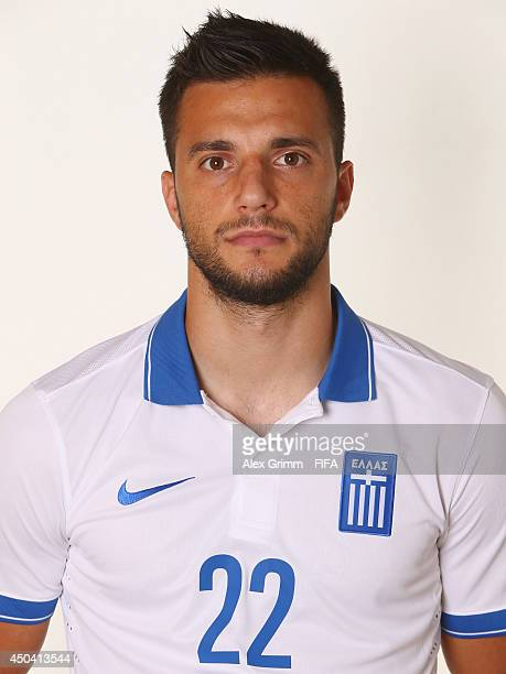 Andreas Samaris of Greece poses during the official FIFA World Cup 2014 portrait session on June 10 2014 in Aracaju Brazil