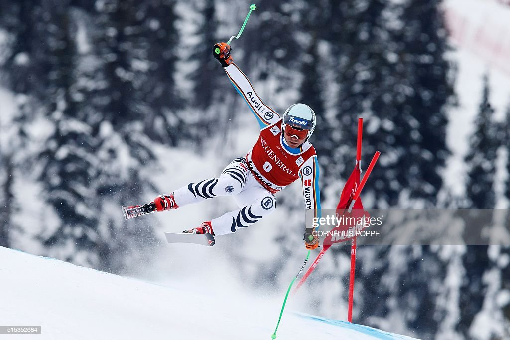 Andreas Sander of Germany competes during the Mens Alpine Ski World Cup Super G race in Kvitfjell Norway on March 13 2016 / AFP / NTB scanpix AND NTB...