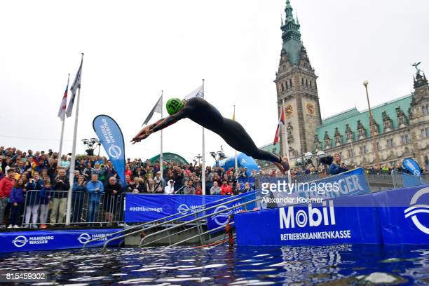 Andreas Schilling of Denmark jumps into the water during the Elite Mixed Relay at Hamburg Wasser ITU World Triathlon Championships 2017 on July 16...