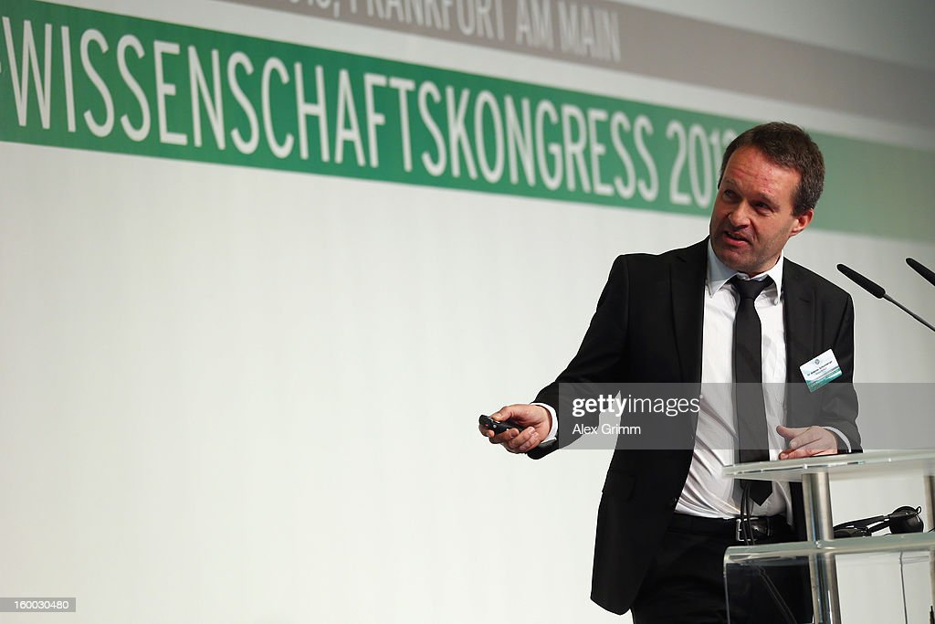 Andreas Schlumberger of Borussia Dortmund addresses the DFB Science Congress 2013 at the Steigenberger Airport Hotel on January 25, 2013 in Frankfurt am Main, Germany.