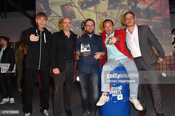 Andreas Schmidt Jochen Alexander Freydank Maximilian Niemann John Friedmann and Tom Wlaschiha attend the Shocking Shorts Award 2015 during the Munich...