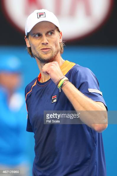 Andreas Seppi of Italy celebrates a point in his fourth round match against Nick Kyrgios of Australia during day seven of the 2015 Australian Open at...