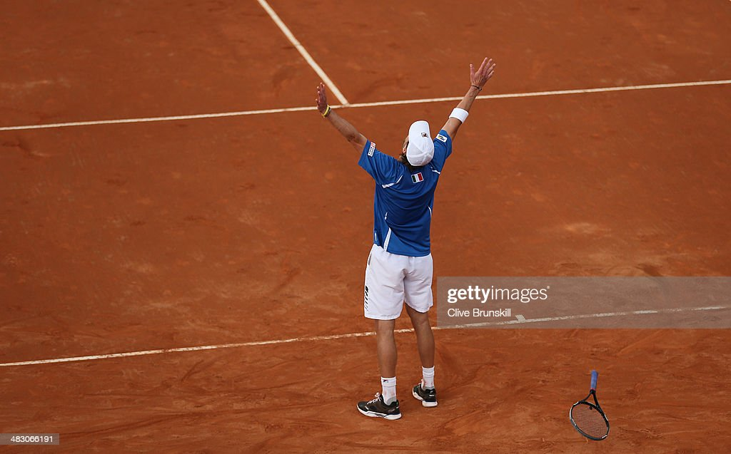 Andreas Seppi of Italy celebrates match point during the fifth and decisive rubber against James Ward of Great Britain during day three of the Davis Cup World Group Quarter Final match between Italy and Great Britain at Tennis Club Napoli on April 6, 2014 in Naples, Italy.