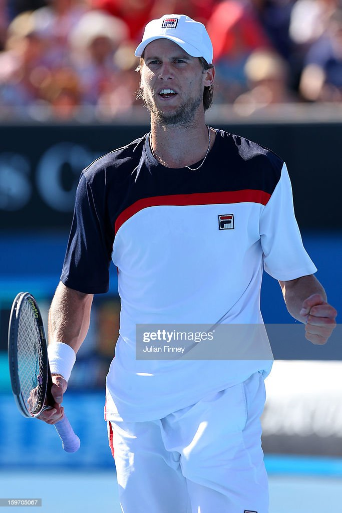 Andreas Seppi of Italy celebrates winning a point in his third round match against Marin Cilic of Croatia during day six of the 2013 Australian Open at Melbourne Park on January 19, 2013 in Melbourne, Australia.