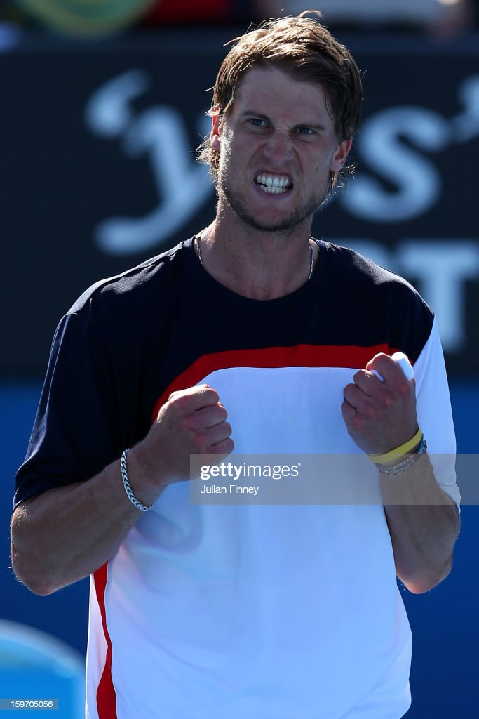 Andreas Seppi of Italy celebrates winning his third round match against Marin Cilic of Croatia during day six of the 2013 Australian Open at Melbourne Park on January 19, 2013 in Melbourne, Australia.