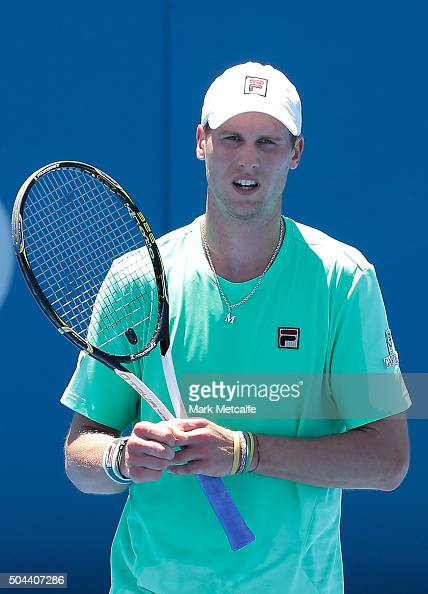Andreas Seppi of Italy celebrates winning match point in his match against Denis Istomin of Uzbekistan during day two of the 2016 Sydney...