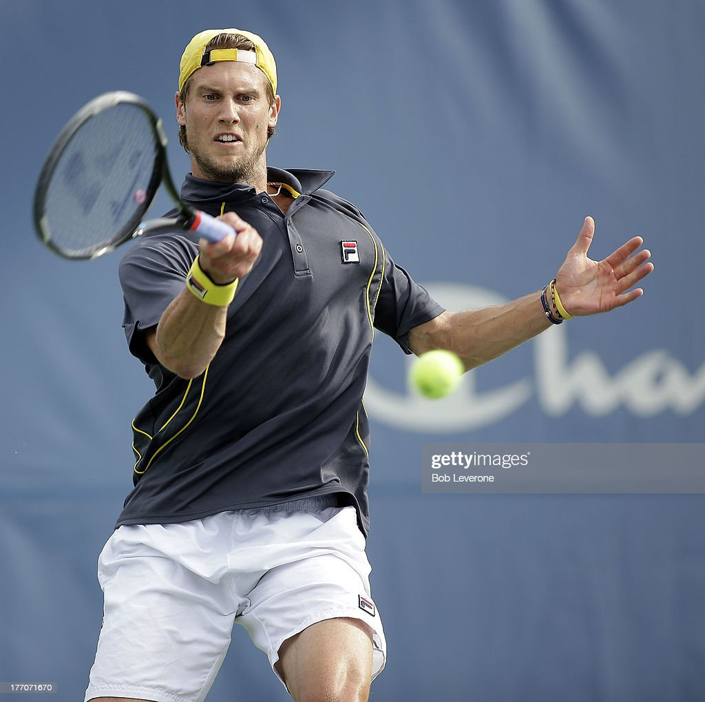 Andreas Seppi of Italy hits a forehand return to Steve Johnson on August 20, 2013 in Winston Salem, North Carolina.