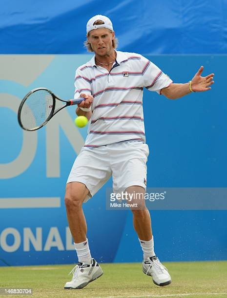 Andreas Seppi of Italy in action against Andy Roddick of USA in the Men's Final during the AEGON International at Devonshire Park on June 23 2012 in...
