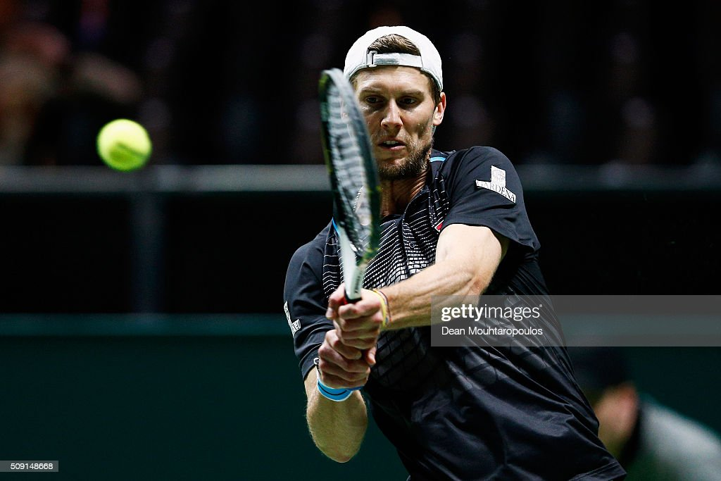 <a gi-track='captionPersonalityLinkClicked' href=/galleries/search?phrase=Andreas+Seppi&family=editorial&specificpeople=228727 ng-click='$event.stopPropagation()'>Andreas Seppi</a> of Italy in action against Gilles Muller of Luxembourg during day 2 of the ABN AMRO World Tennis Tournament held at Ahoy Rotterdam on February 9, 2016 in Rotterdam, Netherlands.