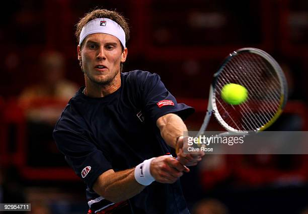 Andreas Seppi of Italy in action during his second round match against Fernando Verdasco of Spain during the ATP Masters Series at the Palais...