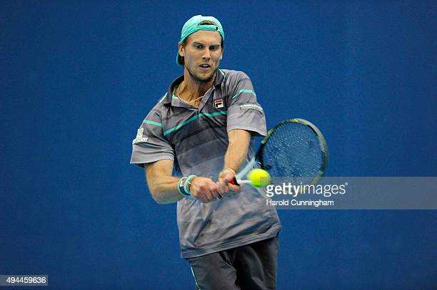 Andreas Seppi of Italy in action during the second day of the Swiss Indoors ATP 500 tennis tournament against David Goffin of Belgium at St...