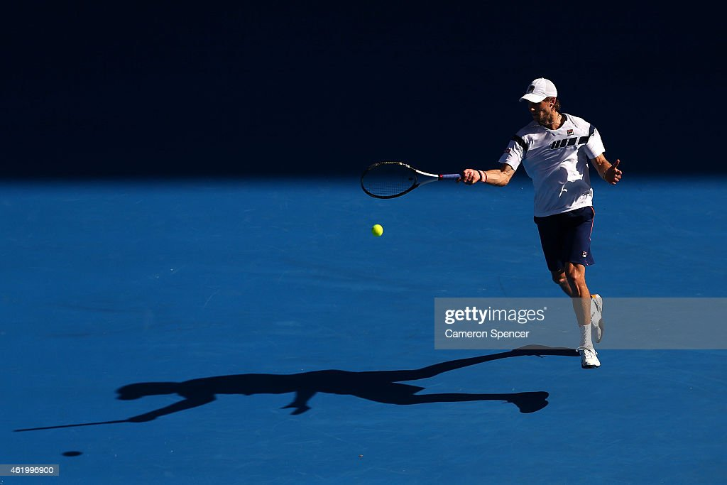 Andreas Seppi of Italy in his third round match against Roger Federer of Switzerland during day five of the 2015 Australian Open at Melbourne Park on January 23, 2015 in Melbourne, Australia.