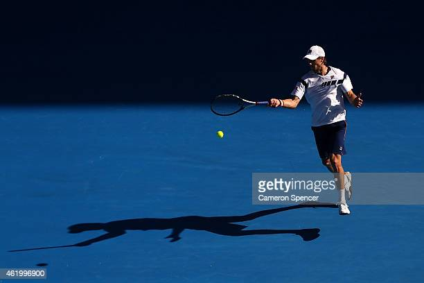 Andreas Seppi of Italy in his third round match against Roger Federer of Switzerland during day five of the 2015 Australian Open at Melbourne Park on...