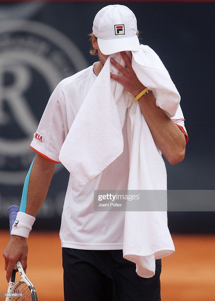<a gi-track='captionPersonalityLinkClicked' href=/galleries/search?phrase=Andreas+Seppi&family=editorial&specificpeople=228727 ng-click='$event.stopPropagation()'>Andreas Seppi</a> of Italy is seen disappointed during his Semi Final match against Juergen Melzer of Austria during the International German Open at Rothenbaum at Rothenbaum on July 24, 2010 in Hamburg, Germany.