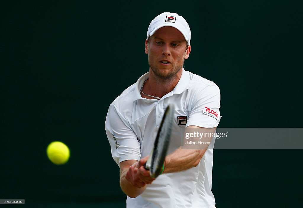 <a gi-track='captionPersonalityLinkClicked' href=/galleries/search?phrase=Andreas+Seppi&family=editorial&specificpeople=228727 ng-click='$event.stopPropagation()'>Andreas Seppi</a> of Italy plays a backhand in his Gentlemens Singles Second Round match against Borna Coric of Croatia during day four of the Wimbledon Lawn Tennis Championships at the All England Lawn Tennis and Croquet Club on July 2, 2015 in London, England.