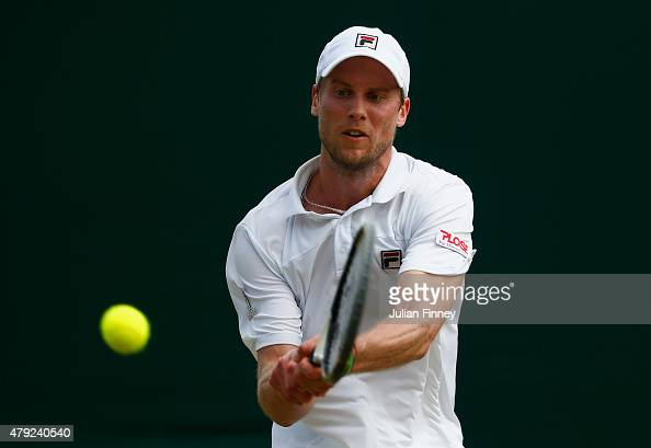 Andreas Seppi of Italy plays a backhand in his Gentlemens Singles Second Round match against Borna Coric of Croatia during day four of the Wimbledon...