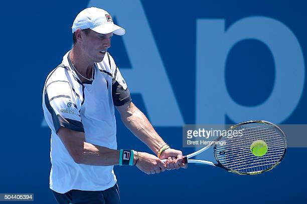Andreas Seppi of Italy plays a backhand shot during day two of the 2016 Sydney International at Sydney Olympic Park Tennis Centre on January 11 2016...