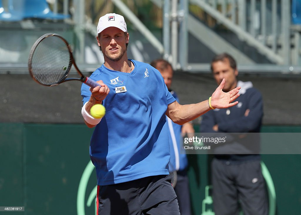 Andreas Seppi of Italy plays a forehand during a practice session prior to the Davis Cup World Group Quarter Final match between Italy and Great Britain at Tennis Club Napoli on April 3, 2014 in Naples, Italy.