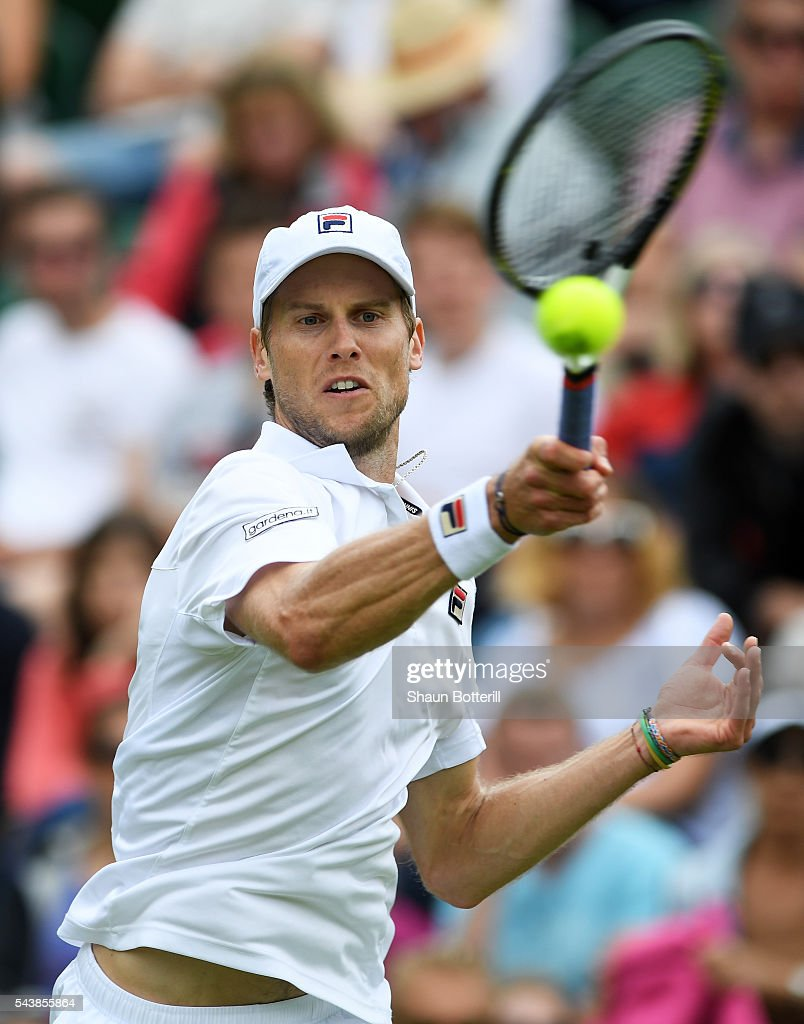<a gi-track='captionPersonalityLinkClicked' href=/galleries/search?phrase=Andreas+Seppi&family=editorial&specificpeople=228727 ng-click='$event.stopPropagation()'>Andreas Seppi</a> of Italy plays a forehand during the Men's Singles second round match against Milos Raonic of Canada on day four of the Wimbledon Lawn Tennis Championships at the All England Lawn Tennis and Croquet Club on June 30, 2016 in London, England.