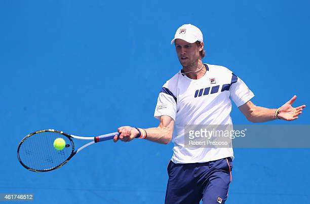 Andreas Seppi of Italy plays a forehand in his first round match against Denis Istomin of Uzbekistan during day one of the 2015 Australian Open at...