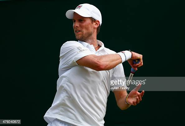 Andreas Seppi of Italy plays a forehand in his Gentlemens Singles Second Round match against Borna Coric of Croatia during day four of the Wimbledon...
