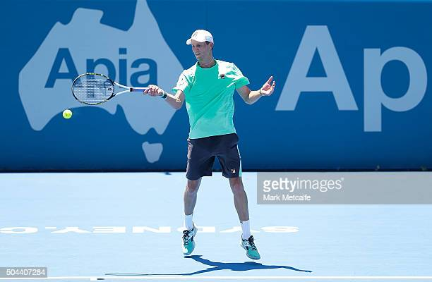 Andreas Seppi of Italy plays a forehand in his match against Denis Istomin of Uzbekistan during day two of the 2016 Sydney International at Sydney...