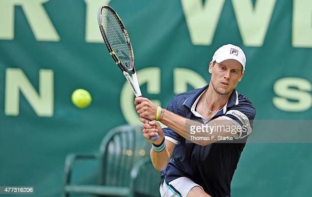 Andreas Seppi of Italy plays a forehand in his match against Tommy Haas of Germany during day two of the Gerry Weber Open at Gerry Weber Stadium on...