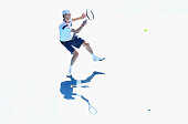 Andreas Seppi of Italy plays a forehand in his third round match against Roger Federer of Switzerland during day five of the 2015 Australian Open at...